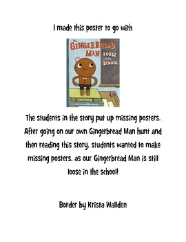 The Gingerbread Man Loose In The School Missing Poster  Make Missing Poster
