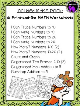 The Gingerbread Man Math Activity Pack for Kindergarten