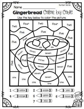 Gingerbread Man Math Language and Christmas Writing Worksheets and Activities