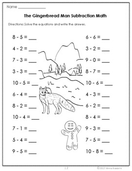 The Gingerbread Man Math Practice Pages