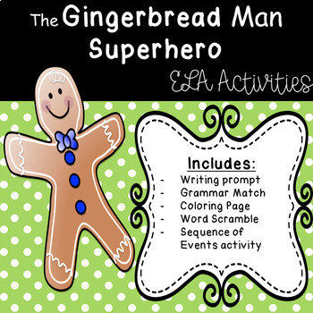 The Gingerbread Man SUPERHERO - ELA Task Cards