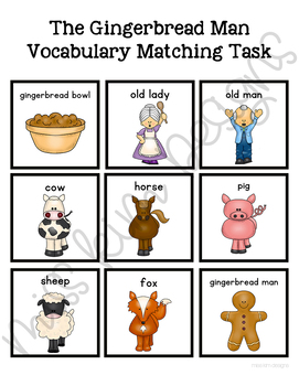 The Gingerbread Man Vocabulary Folder Game for Special Education