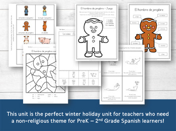 The Gingerbread Man Winter Unit in Spanish for PreK - Early Elementary