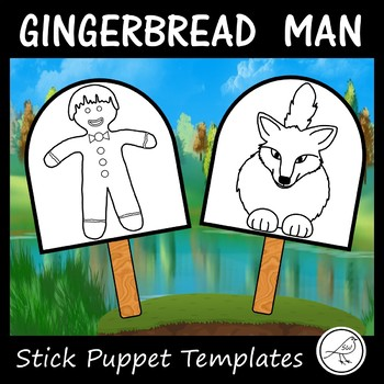 The Gingerbread Man - stick puppet templates (black and white)