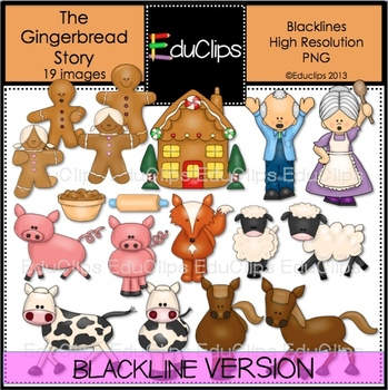 The Gingerbread Story Clip Art BLACKLINES {Educlips Clipart}