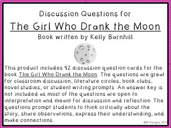 The Girl Who Drank the Moon Discussion Question Cards