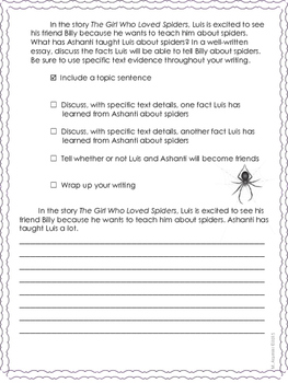 The Girl Who Loved Spiders--Writing Prompt-Journeys Grade 4-Lesson 26