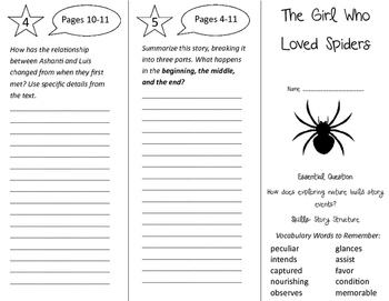 The Girl Who Loved Spiders Trifold - Journeys 4th Grade Unit 6 Week 1 (2011)