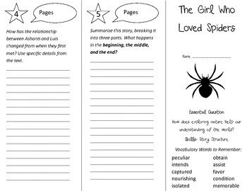 The Girl Who Loved Spiders Trifold - Journeys 4th Grade Unit 6 Wk 1 (2014, 2017)