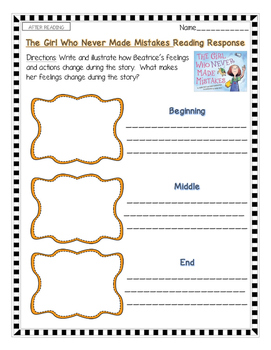 The Girl Who Never Made Mistakes--Growth Mindset Reading Response Activities