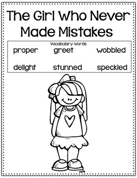 The Girl Who Never Made Mistakes Vocabulary Lessons with Assessments