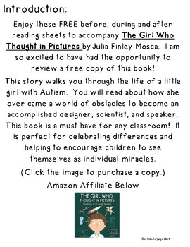 The Girl Who Thought in Pictures: FREE Reading Response Sheets