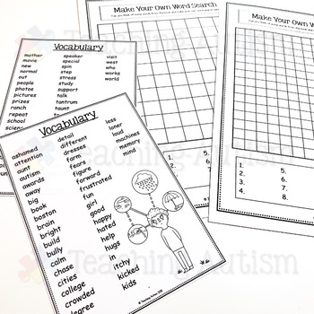 The Girl Who Thought in Pictures Word Search Activity
