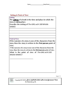 The Girl with 500 Middle Names Literature and Grammar Unit