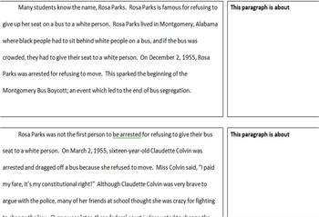 The Girl who got Arrested paragraphing Activity