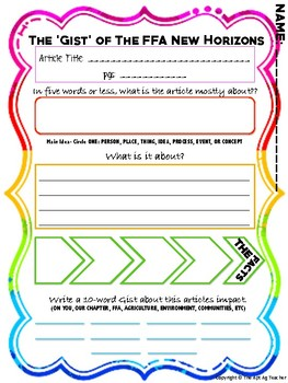 The Gist Article Summary Worksheet for FFA New Horizons
