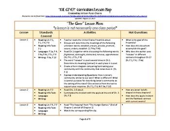 """The Giver"" 10 Lesson Common Core Lesson Plan"