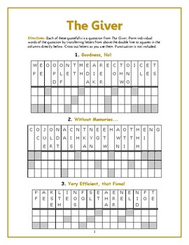 The Giver: 10 Quotefall Word Puzzles—Unique Spelling Workout!
