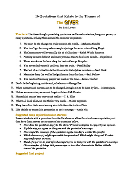 The Giver: 16 Theme-Related Quotations + Teaching/Essay Suggestions