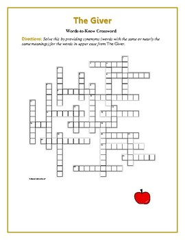 The Giver: 25 Words-to-Know Crossword—Use with Bookmarks Plus!