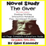 The Giver Novel Study & Enrichment Project Menu; Plus Digital Option