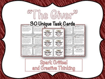 The Giver: 30 Task Cards Promoting Critical Thinking, Crea