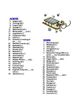 The Giver: 50-word Prereading Vocabulary Crossword—Use with Bookmarks Plus!