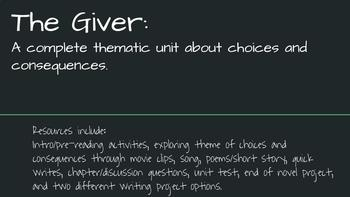 The Giver Unit - A Complete Unit for Teaching The Giver