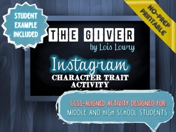 The Giver Activity Bundle - 4 Engaging Activies, CCSS Aligned, Low-Prep