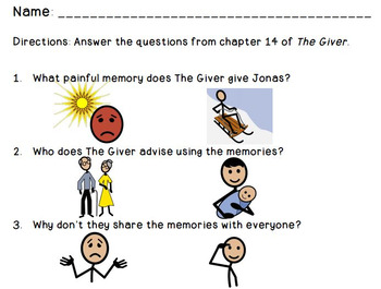 The Giver: Adapted Comprehension Questions