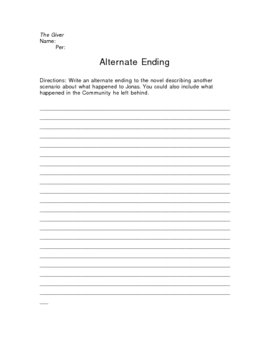 The Giver Alternate Ending Writing Assignment