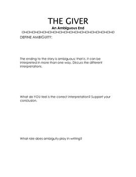 GIVER - An Ambiguous Ending - Worksheet and Questions