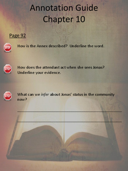 The Giver Annotation Packet - Chapters 10 to 12 (Updated Pagination)