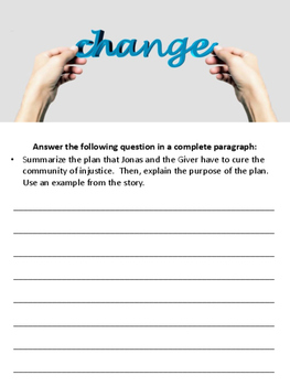 The Giver Annotation Packet - Chapters 19 to 23 (Updated Pagination)