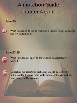 The Giver Annotation Packet - Chapters 4 to 6 (Updated Pagination)