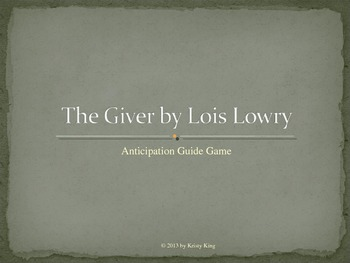 The Giver Anticipation Guide Game