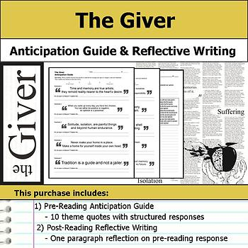 The Giver - Anticipation Guide & Written Reflection