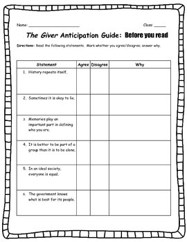 Pre-reading activity for The Giver