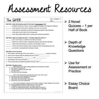 The Giver - Assessment and Test on ELA Skills