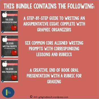The Giver: Assessments BUNDLE Writing Prompts, Presentation, Essay