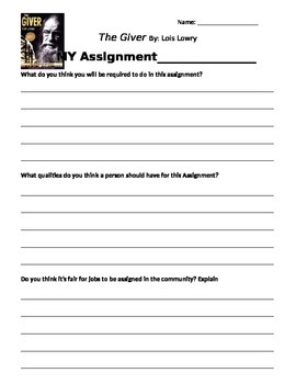 The Giver Assignment Activity