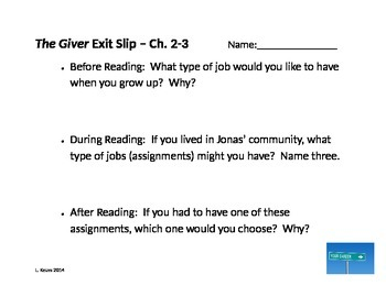 The Giver - Before, During, and After Reading Exit Slips - Ch. 1 - 5