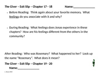 The Giver - Before, During, and After Reading Exit Slips - Ch. 17-23