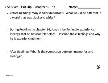 The Giver - Before, During, and After Reading Exit Slips - Ch. 11-16