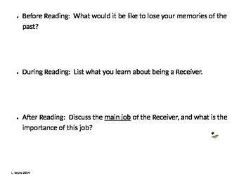 The Giver - Before, During, and After Reading Exit Slips - Ch. 6-10