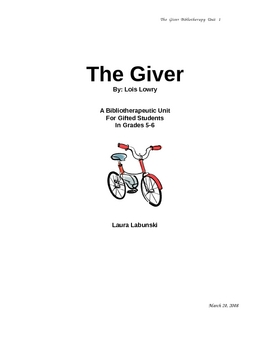 The Giver-Bibliotherapy Unit