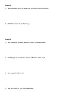 The Giver Ch. 1-12 Comprehension Guide