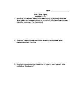 The Giver Ch. 10 - 20 Quiz
