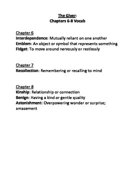 The Giver Ch. 6-8 Vocabulary