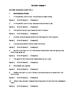 The Giver Chapter 1 Packet